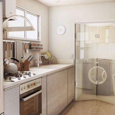 cozinha com porta de vidro elegante
