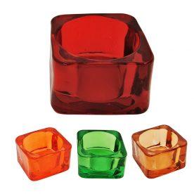 Conjunto Porta Velas Vidro Color