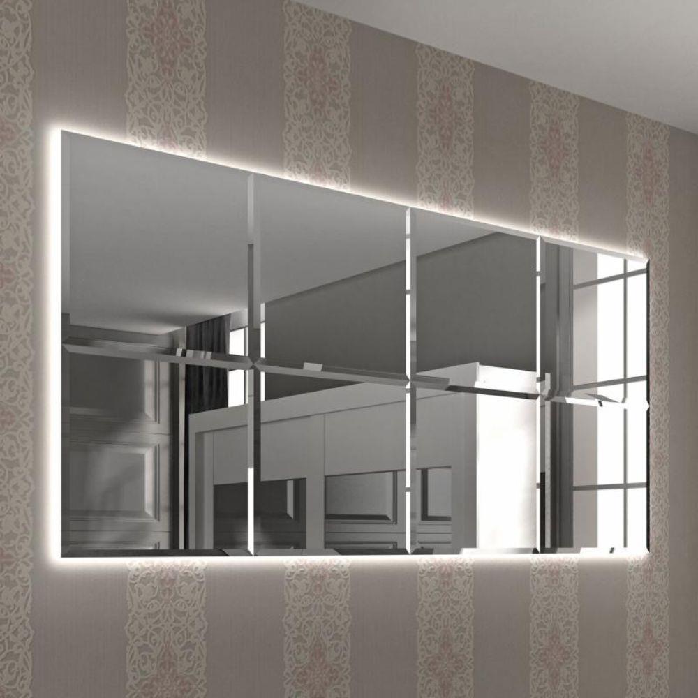 espelhos bisotados com led parede